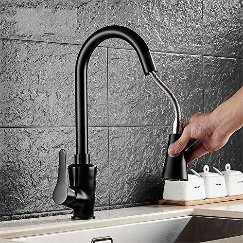 Wasserhähne Warmes und kaltes Wasser guter Qualität Alle Kupfer Pull-Down Küche Leitungswasser Gericht Fach Waschbecken Wasserhahn Mischventil Gedreht um 360°, Schwarz einzelne Bohrung einzigen Griff. (Fach Einzelnes Waschbecken)