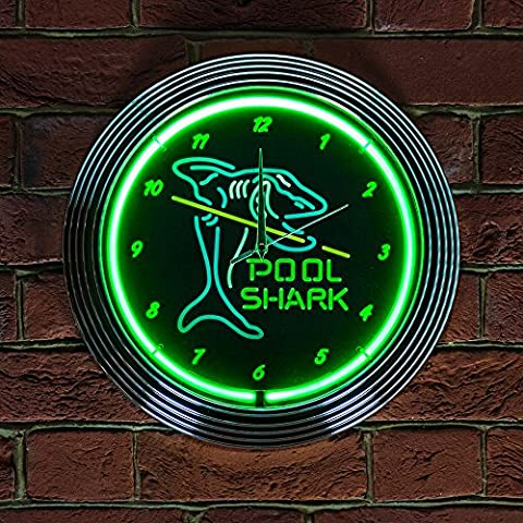 Pool Shark Neon Clock 240V 3-Prong UK Plug by Icon Neon