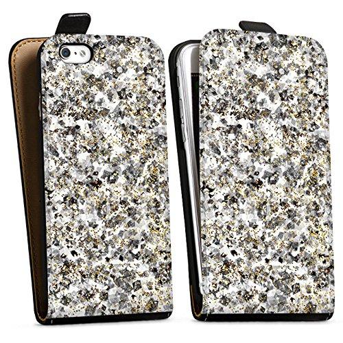 Apple iPhone X Silikon Hülle Case Schutzhülle Muster Glitzer Silber Downflip Tasche schwarz