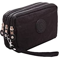 Fueerton Multifunction 3 Layers Zipper Key Card Phone Pouch Coin Money Bag Purse Wallet (Black)