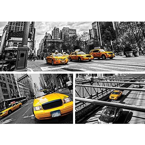 Vlies Fototapete PREMIUM PLUS Wand Foto Tapete Wand Bild Vliestapete - New York Brücke Taxi Haus Bäume Bus Fahne Fluss Menschen Straße - no. 849, Größe:400x280cm Vlies