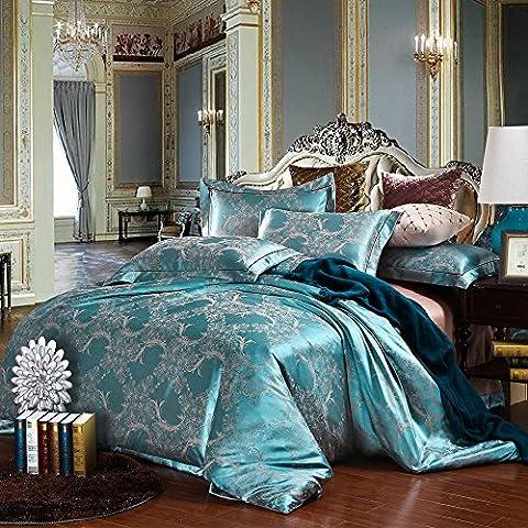 Luxuriöse 4-teilige Seide Bettwäsche Bohemian Exotische Stil Floral Duvet Cover Set Duvet Cover Bettlaken Kissenbezüge (160 x 200 cm, Grün)