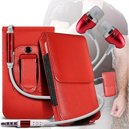 (Black) Apple iPhone 6 Schutz PU-Leder Gürtelholster Pouch Tasche Halter By Spyrox Roter Gürtel Lasche + Ohrhörer