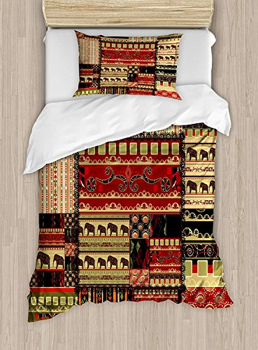 Juego de funda nórdica africana, tamaño doble, patrón asiático estilo patchwork con...