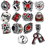Best Queenberry Charms Pandora Charm Bracelets style - Red Valentines Pandora Style Birthstone Charms [12] European Review