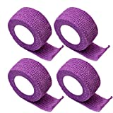 Cohesive Bandage 2.5cm 4 Rolls Elastic Athletic Tape Non-woven Flexible by CRYSTALUM (PURPLE)