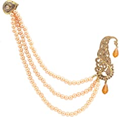 Sanjog Gold Plated With Hanging Pearl Chain Safa kalangi For Men's/Boys