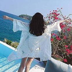 Bluester Women Lace Boho Crochet Floral Cardigan Top/ Beach Bikini Cover Up/ Dress