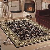 Klassiche orient Teppiche für Wohnzimmer, Esszimmer, Gästezimmer,kurzflor gemustert orient Medaillon Barock design,moderne Farben Schwarz_0210, Maße:80x150 cm