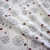 Stoff Baumwollstoff Blume weiß grau silber Eiskristall