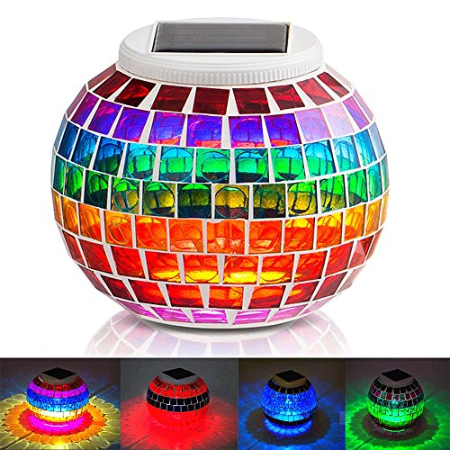 KEEDA Mosaic Solar Lights, Color Changing Crystal Mosaic Glass Ball LED Night Lights, Solar Powered Bedside/Desk/Table Lamps Lights, Solar Outdoor Garden Patio Party Mood Lights, Tabletop Decorative Lighting (Cullet, Rainbow)