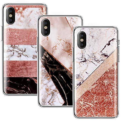 CLM-Tech kompatibel mit iPhone X Hülle 3X, TPU Silikon-Hülle Case Schutzhülle Handyhülle 3er Set, Marmor Mehrfarbig