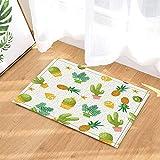 cdhbh Pflanze Decor Kaktus Ananas Zitronen und empfindliche Gras Bad Teppiche für Badezimmer Rutschfeste Boden Eingänge Outdoor Innen Vorne Fußmatte Kinder Badteppich 39,9x 59,9cm Gelb Grün