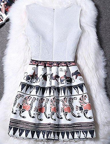 PU&PU Robe Aux femmes Gaine Street Chic,Motif Animal Col Arrondi Au dessus du genou Polyester BLACK-M