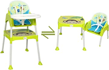 R for Rabbit Convertible Baby High Chair with Cushion (Green, HCCBBG1)