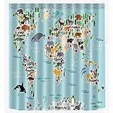 Top-Top-Mode, wasserdicht Duschvorhang Liner antibakteriell, Schimmel Wasserdicht Polyester Bad Washroom, WC-Bad Duschvorhang Dekor mit Haken, Polyester, Animal World Map, 180x200