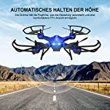 RC Quadrocopter Potensic Drohne mit 5.8GHz 6-Achsen-Gyro 2MP HD Karmera FPV Monitor Video Live Übertragung 3D Flip Funktion- Blau - 2