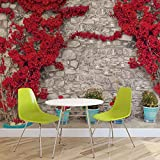 Rote Blumen Stein Mauer - Forwall - Fototapete - Tapete - Fotomural - Mural Wandbild - (3580WM) - XXL - 368cm x 254cm - Papier (KEIN VLIES) - 4 Pieces
