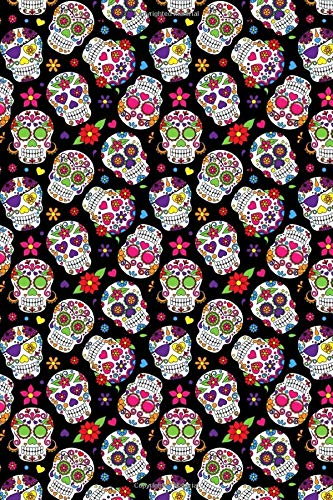 Day Of The Dead Pattern - Sugar Skull Santa Muerte 04: Blank Sketch Paper Notebook with frame for Day Of The Dead Lovers