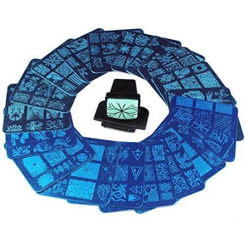 Finger Angel 20 Stück verschiedene Design Nail Art Stamping Platten + 1 Stück Square Green Rubber Stamper DIY Nail Art Bild Stempel Platten Maniküre Vorlage Nail Art Tools Green Square Platte