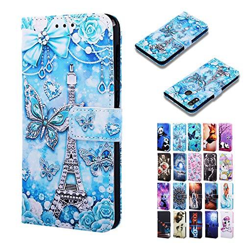 l für Samsung Galaxy A40 Hülle Leder Handyhülle Flip Case Kartenfach Klappbar Stoßfest Bumper Schutzhülle Tasche mit Muster - Schmetterlings Blau Blume Eiffel Turm ()