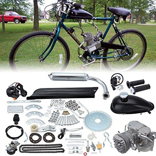Ambienceo 80cc 2 temps cycle de la pédale essence gaz moteur kit de conversion de vélo pour vélo motorisé argent(Avec un cadeau au hasard)