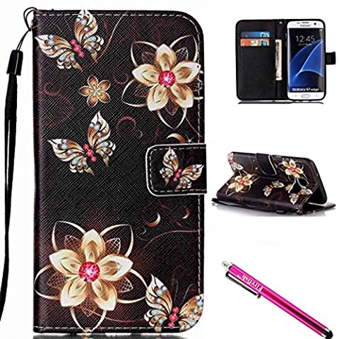 Galaxy S7 Edge Case, FIREF1SH [Kickstand] [Card/Cash Slots] Lightweight Premium PU Leather Wallet Flip Cover with Wrist Strap for Samsung Galaxy S7