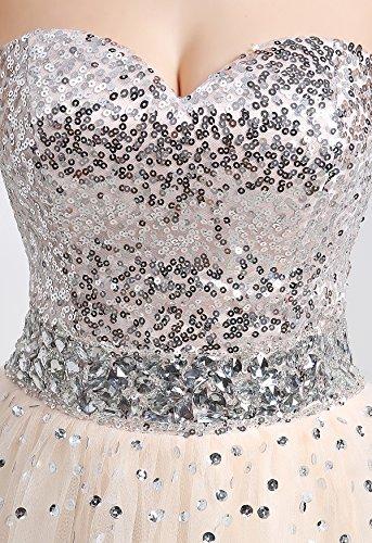 KekeHouse® Robe Bustier Longue Paillette Champagne de Cérémonie Soirée Mariage Femme Fille Champagne