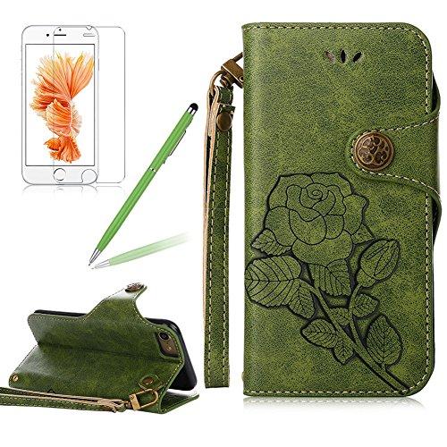Girlyard Lederhülle für Apple iPhone 6S/ iPhone 6 (4,7 Zoll) Wallet Flip Case, Elegant Blumen Retro Floral Muster Design Schutzhülle mit Lanyard Strap Handyhülle Standfunktion Karteneinschub und Magnetverschluß Etui -- Grün