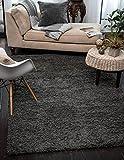 "A2Z Rug ( 160x220 cm (5ft4"" x 7ft 5"") Dark Grey ) Cozy Shag Collection Solid 5.5 cm Pile Shag Rug Contemporary Living & Bedroom Soft Shaggy Area Rug, Carpet"