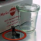 6 Weck Einkochgläser 290ml Sturzform / Sturzglas RR80 mit Glasdeckel, Ringen und Klammern im Original Weck Karton (Mit G