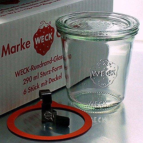 6 Weck Einkochgläser 290ml Sturzform / Sturzglas RR80 mit Glasdeckel, Ringen und Klammern im Original Weck Karton (Mit Glasdeckel, Ringen und Klammern)