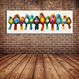 IPLST@ Vögel Ölgemälde Cartoon Tier Baby Infant Kinderzimmer Dekoration Große Wandbild Bunte Vögel Leinwand Kunst-50x150cm (kein Rahmen, ohne Bahre)