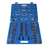 110 tlg Gewindeschneidsatz Gewindebohrer Set Gewindeschneider Steckschlüsselsatz mit Schlüssel Griff Tool Kit