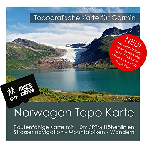 Norwegen Garmin Karte TOPO 4 GB microSD. Topografische GPS Freizeitkarte für Fahrrad Wandern Touren Trekking Geocaching und Outdoor. Navigationsgeräte, PC & MAC Norwegen-pc
