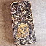 Apple iPhone & Samsung Holzhülle - Ultraslim Handyhülle Echtem Holz Schutz Hülle Schale mit PC Bumper Hart Cover Case Etui Smartphone, Wood Cover Owl Artwork