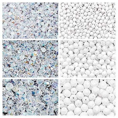 Tschechische Fire-Polished Glasperlen Rund 3mm, 4mm, 6mm, Zwei Farben. Insgesamt 500 Stück. Set 2CFP 006 (3FP002 3FP006 4FP002 4FP055 6FP002 6FP043)