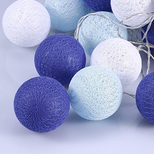 Cotton Ball Lights 6cm Durchmesser, LED Lichterkette mit 20 Baumwollkugeln für Kinderzimmer Babybetthimmel Festlich Hochzeiten Geburtstag Party Deko (Blau)