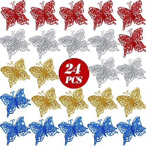 Flofia 24pz ornamenti farfalle per albero di natale addobbi natalizi farfalle glitter scintillio ciondoli appessi decorazione natale multicolore