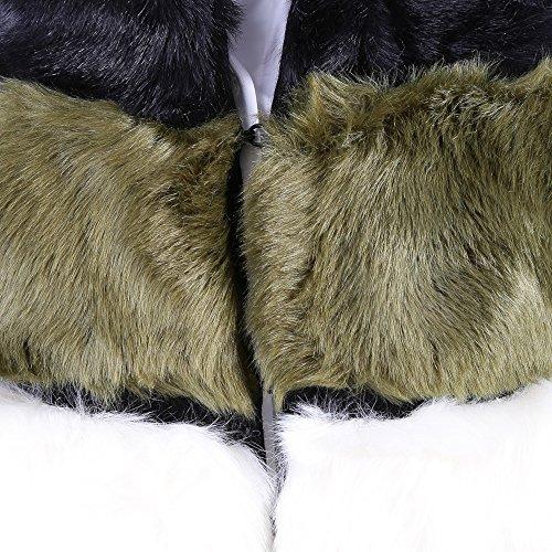 Gilet Twin Set en fausse fourrure à grandes lignes multicolor Black-white-green