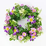Set 2 x Künstlicher Frühlingskranz mit Margeriten, Rudbeckia, lila, Ø 30 cm -...