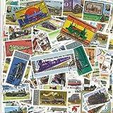 Colección de Sellos matados con Ilustraciones de Trenes, 100 ejemplares Distintos