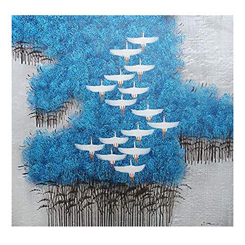 YIKUI Painting Wandkunst Leinwand Gemälde,Ölgemälde Auf Handgemalt Wandmalerei Abstrakt Schwan, Wandkunst für Wohnzimmer Kunst Wanddekoration (Kein Rahmen, Nur Leinwand),Blau,80x80cm