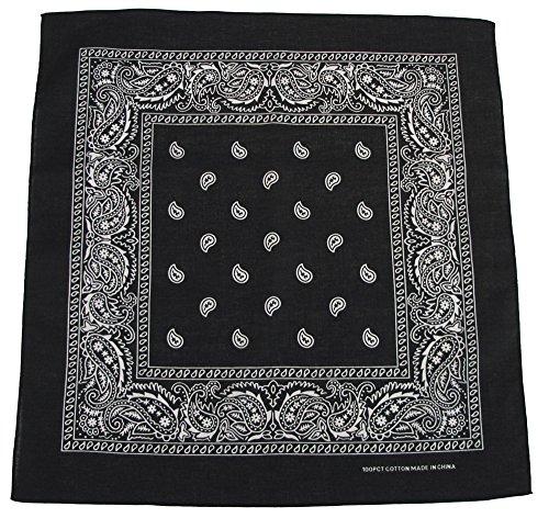 bandana, coton, 55 x 55 cm, Couleur:Schwarz