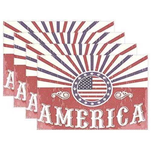ALAZA Platzsets, 1 Stück, Motiv: Amerika-Flagge, Vintage-Flagge, waschbar, Tischunterlage für Küche, Esstisch, 30,5 x 45,7 cm, Polyester-Mischgewebe, Multi, 12x18 inch