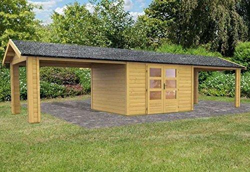 Karibu Woodfeeling Gartenhaus Thor 7 mit 2 Dachanbauten 3,01 Meter Außenmaß (B x T): 304 x 304 cm Wandstärke: 28 mm Anbau: 2 Stück, 301 cm breit Bauweise: Systembauweise Ausführung: naturbelassen