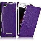 Seluxion - Housse Etui Coque Rigide à Clapet pour Sony Xperia M Couleur Violet +...