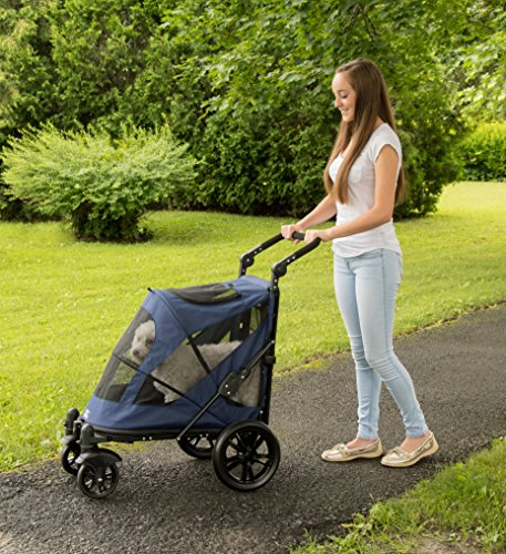 Pet Gear No-Zip Excursion Zipperless Entry Pet Stroller for Single or Multiple Pets, Candy Red 4
