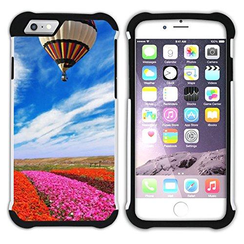 Graphic4You Heißluftballon Sicht auf den Himmel Flug Hart + Weiche Kratzfeste Hülle Case Schale Tasche Schutzhülle für Apple iPhone 6 / 6S Design #20