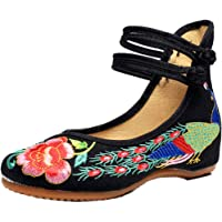 Yefree Women Fashion wear Resistant Round Head Chinese Style Embroidered Shoes Wedding Shoes